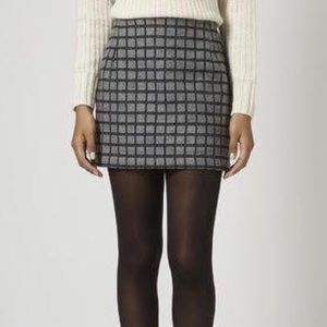 TOPSHOP Grey Embroidered Grid Mini Skirt